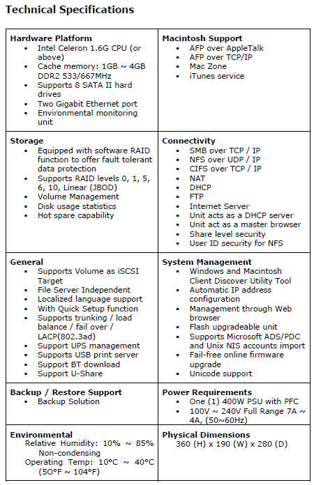 Proware EPICa Series EN-T800 SAS NAS