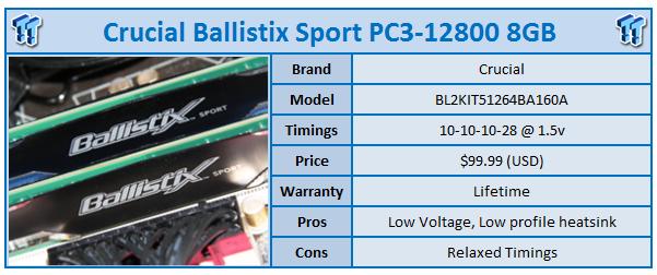 Crucial Ballistix Sport PC3-12800 8GB Kit Review