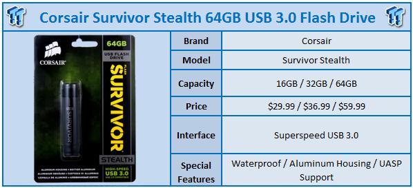 Corsair 256GB Survivor Stealth Water Proof USB Flash Drive Memory CMFSS3B-256GB