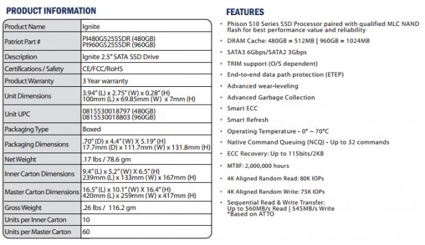 Patriot Ignite 480GB SSD Review