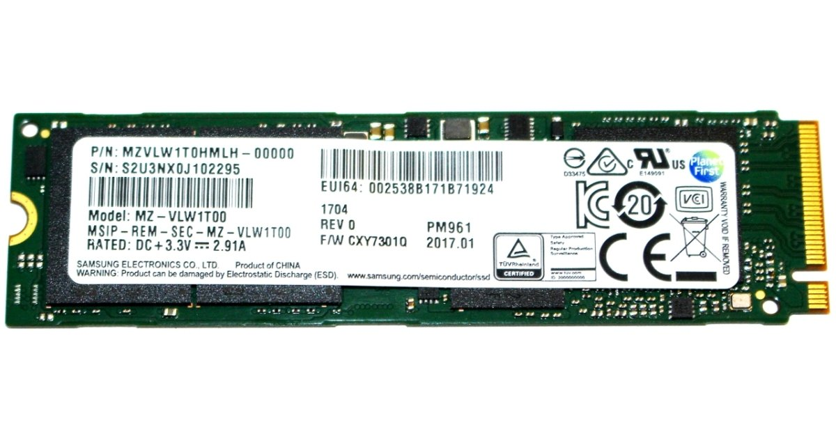 Samsung PM961 1TB M 2 NVMe PCIe SSD Review
