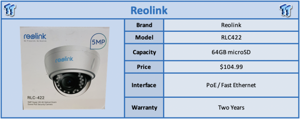 Reolink RLC-422 PoE Dome Camera Review