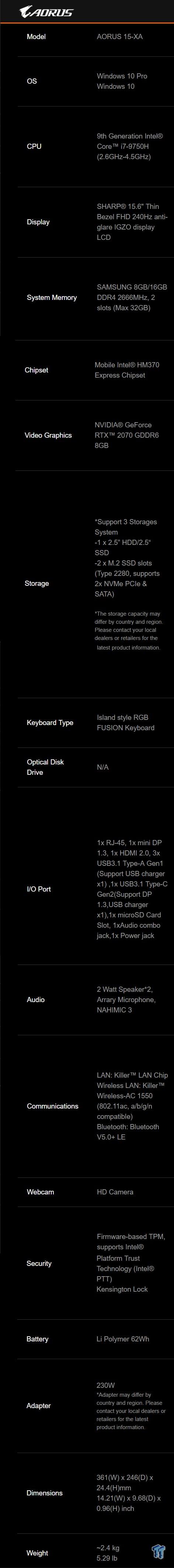 GIGABYTE Aorus 15-XA (Coffee Lake-R) Laptop Review