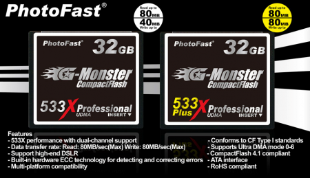PhotoFast Launches 533X and 533X+ 32GB CF Cards