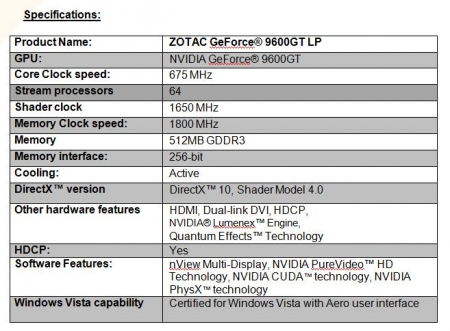 Zotac Launches Low Profile 9600GT
