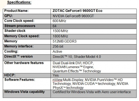ZOTAC Announces Power Efficient GeForce� 9600GT Eco