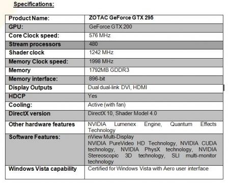 ZOTAC Unveils GTX295 Dual GPU Graphics Card