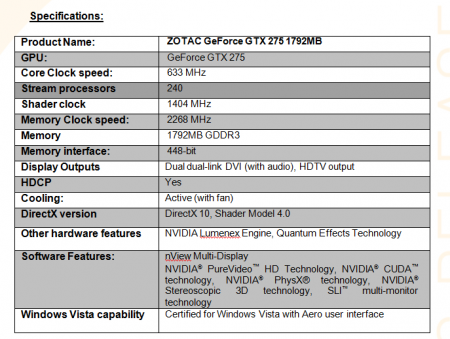 Zotac Launches GTX 275 with 1792MB RAM