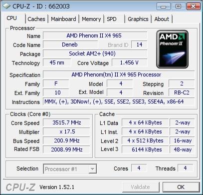 AMD Phenom II X4 965 3.4GHz AM3 Processor