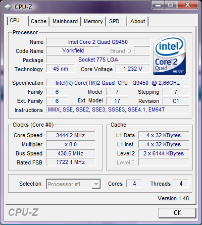 CPU-Z makes it to v1.48 - better Core i7 support