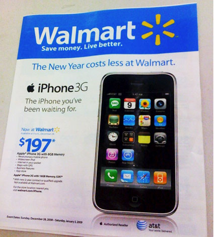 Wal-Mart now shifting iPhone 8GB for $197