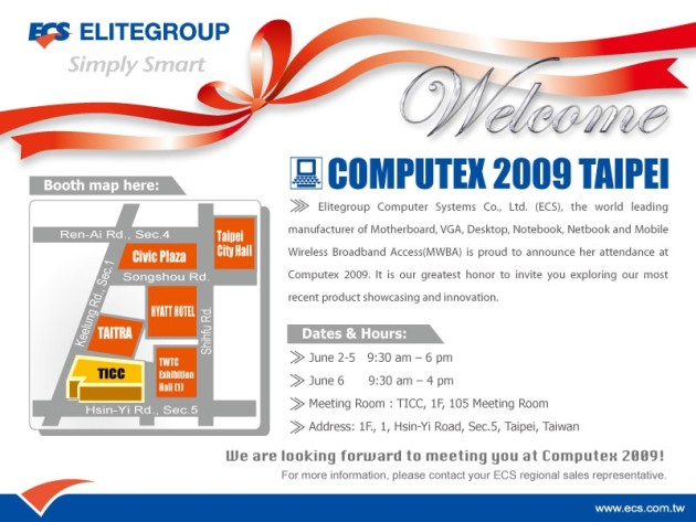 ECS Presents Her Full Product Lines in Computex 2009