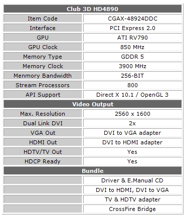 Club 3D announces HD4890 graphics card with high performance cooling