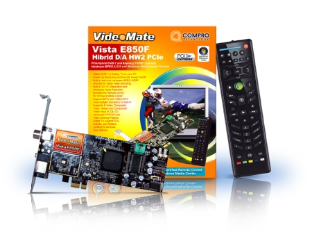 Compro VideoMate Vista E850F PCIe Hybrid DVB-T & Analog TV/FM Card with Hardware MPEG-4 encoder