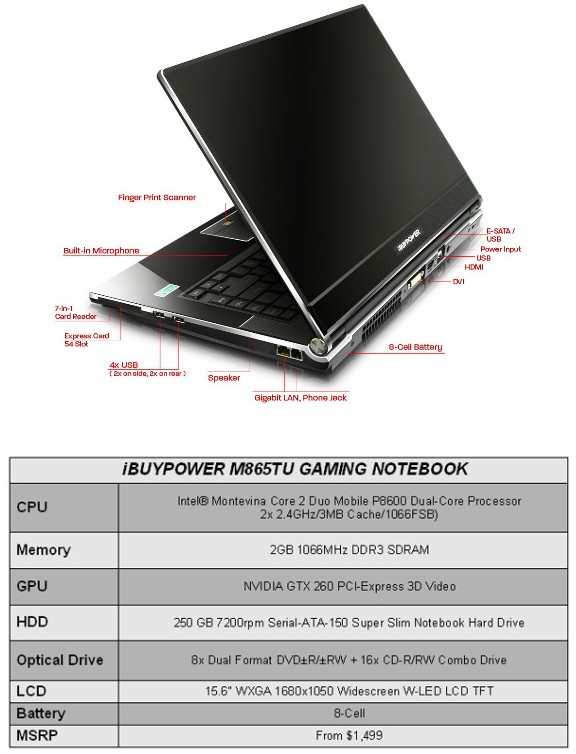 iBUYPOWER Launches Most Powerful 15 Inch Gaming Notebook Ever
