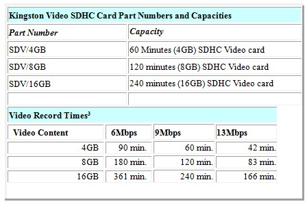 Kingston Releases SDHC Video Cards