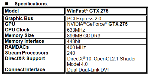 Leadtek launches WinFast® GTX 275 - The champion of performance