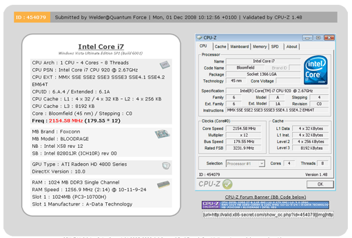 Foxconn X58 BloodRAGE sets the world fastest Intel Core i7 DDR3 OC record