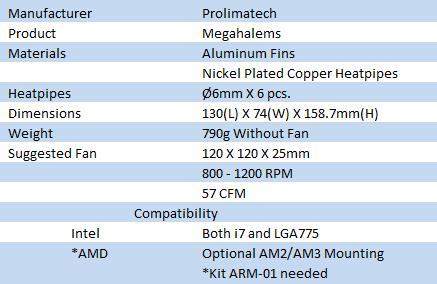 Prolimatech Megahalems CPU Cooler