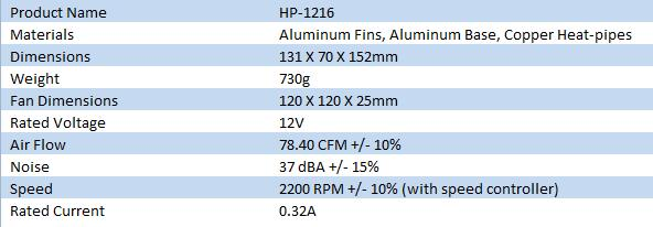 XtremeGear Xtreme Cooler HP-1216 CPU Cooler