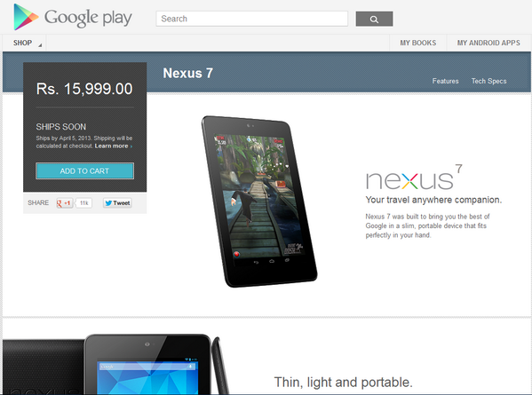 Nexus 7 appears in the Google Play Store in India