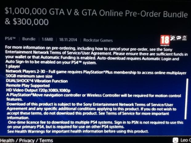 Grand Theft Auto V on the PS4 requires 50GB of HDD space