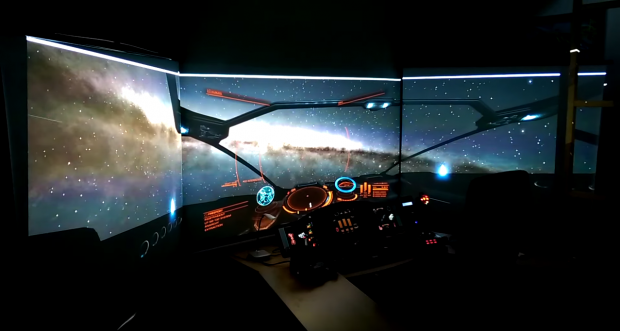 Elite: Dangerous played on 3D screens, touch panels and head