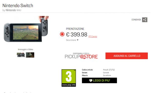 Nintendo Switch listed for 399 Euros on GameStop