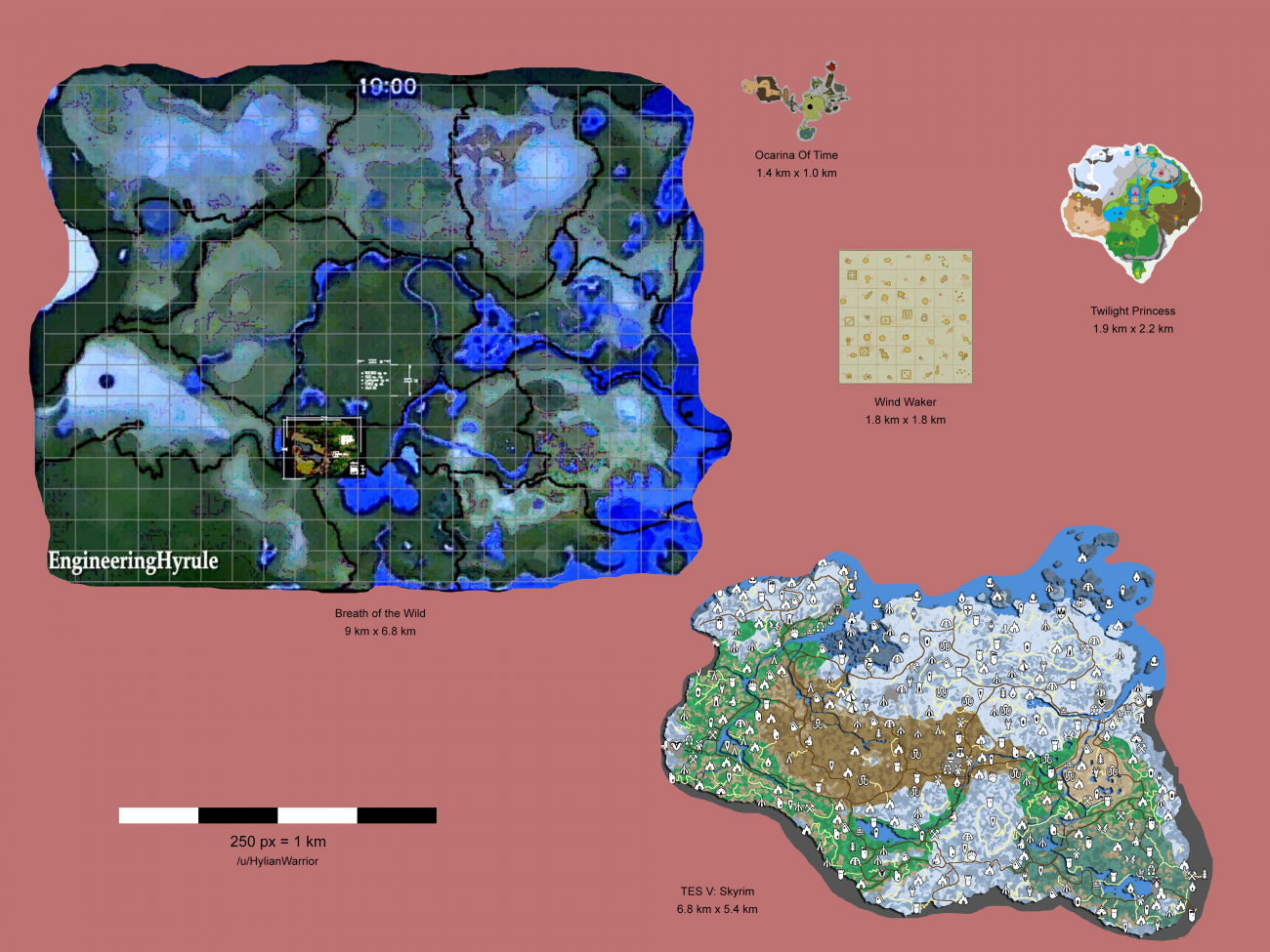 Zelda: Breath of the Wild's Hyrule is bigger than Skyrim on skyward sword map, wind waker map, star wars map, smash brothers map, harvest moon map, kingdom hearts map, minecraft map, mario world map, hyrule map, super mario map, zilla map, castlevania 3 map, gta map, castlevania 2 map, pokemon map, metroid map, oracle of ages map, ocarina of time map, mario kart map, ikana map,