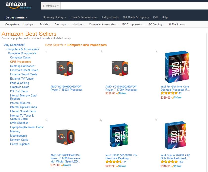 AMD Ryzen 7 1800X hits #1 best-selling CPUs on Amazon