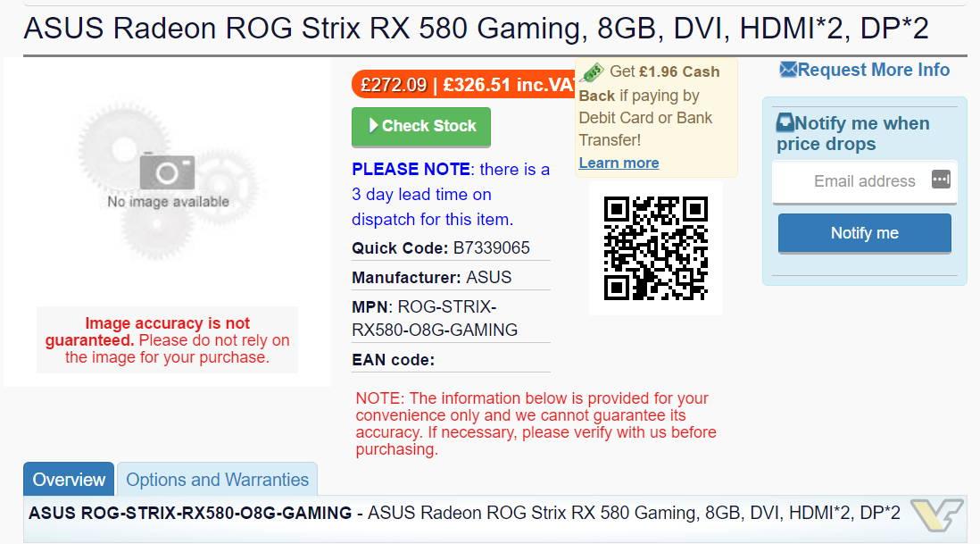 ASUS Radeon RX 580 ROG Strix 8GB spotted