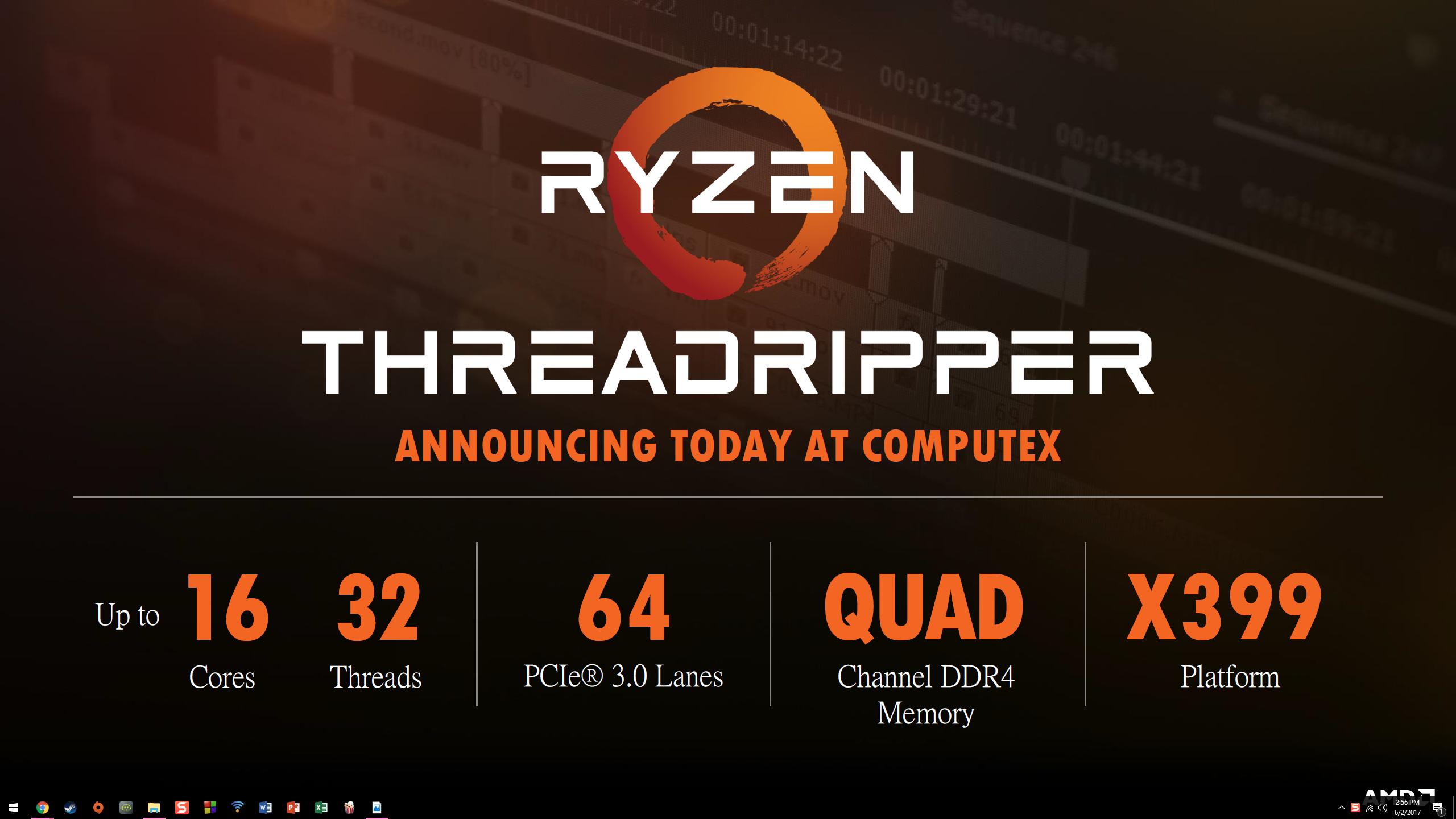AMD Ryzen ThreadRipper 1950X: 16C/32T @ 3 4GHz perf leak
