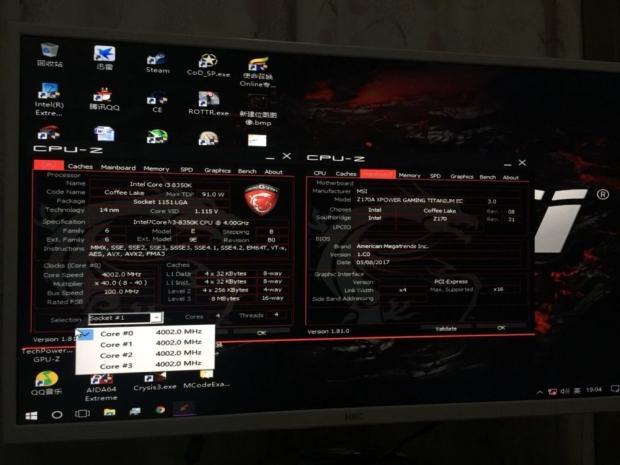 Hacked: Intel Coffee Lake 8350K running on Z170 motherboard