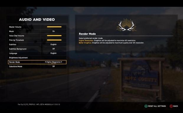 Far Cry 5: 'higher res/better graphics' option on consoles