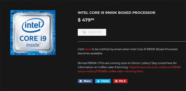 Intel Core i9-9900K: 8C/16T processor should debut at $480